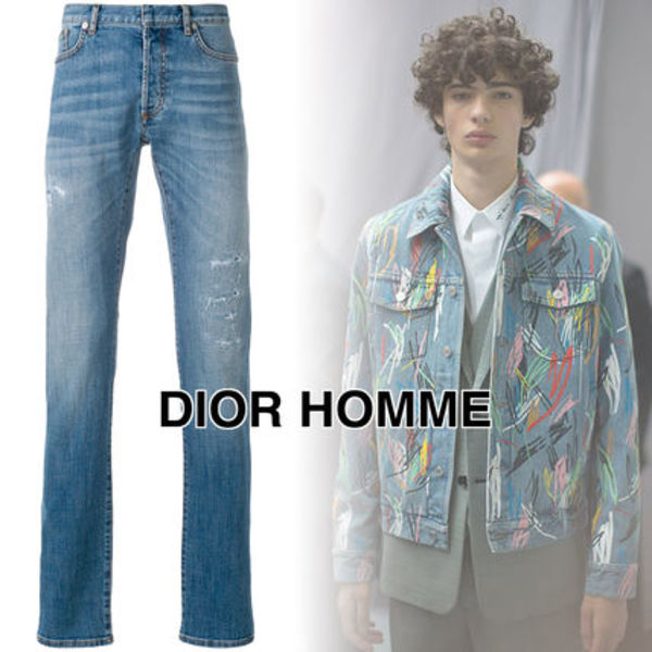 DIOR HOMME ダメージ ストレート レッグ ジーンズ【関税込】