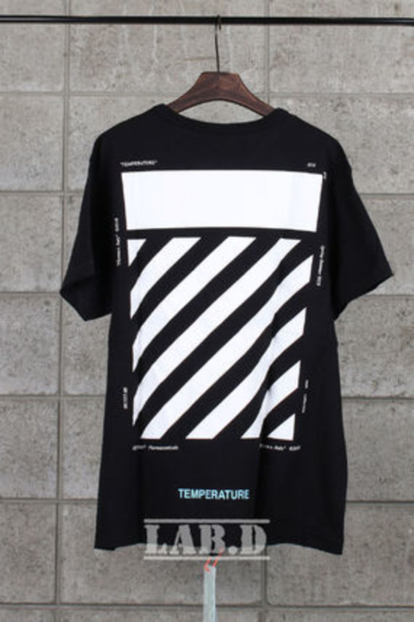 OFF-WHITE // BLACK DIAG TEMPERATURE S/S Tシャツ ブラック