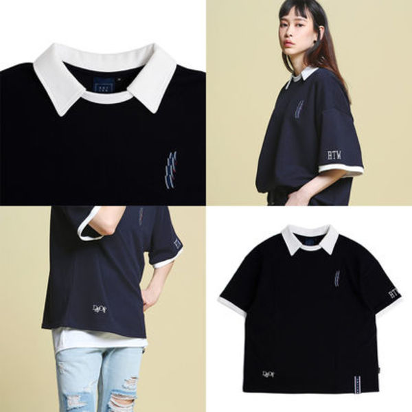 Day off collar T shirts_Navy ユニセックス 国内発