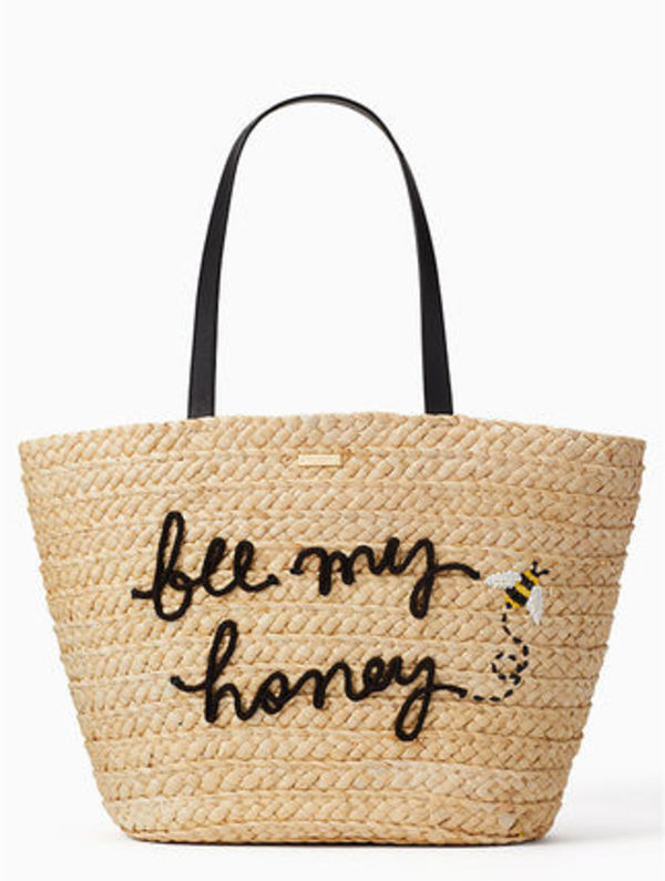 ビーストローバックkate spade picnic perfect straw bee tote