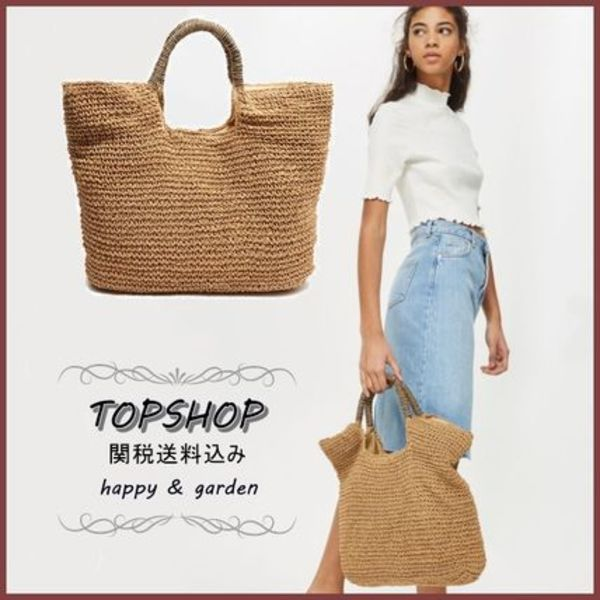TOPSHOP★関送込ストロートートバッグNATURAL