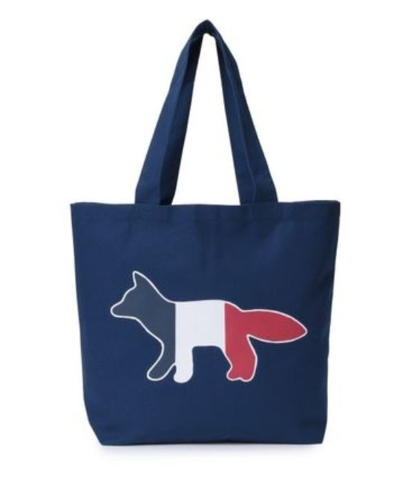 即配★MAISON KITSUNE 18SS TOTE BAG TRICOLOR FOX ネイビー
