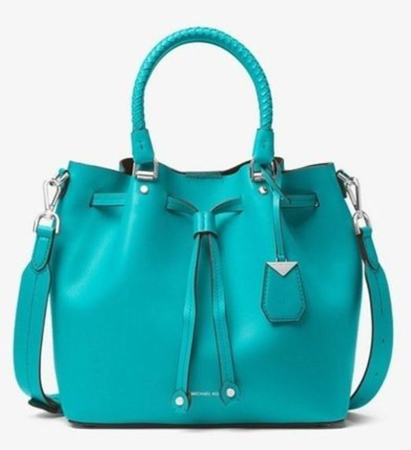 【MICHAEL KORS】大人気Blakely Leather Bucket Bag☆ターコイズ