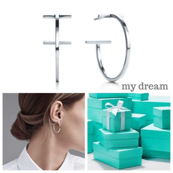 【Tiffany&Co】Tiffany T Wire Hoop Earrings (ミディアム)