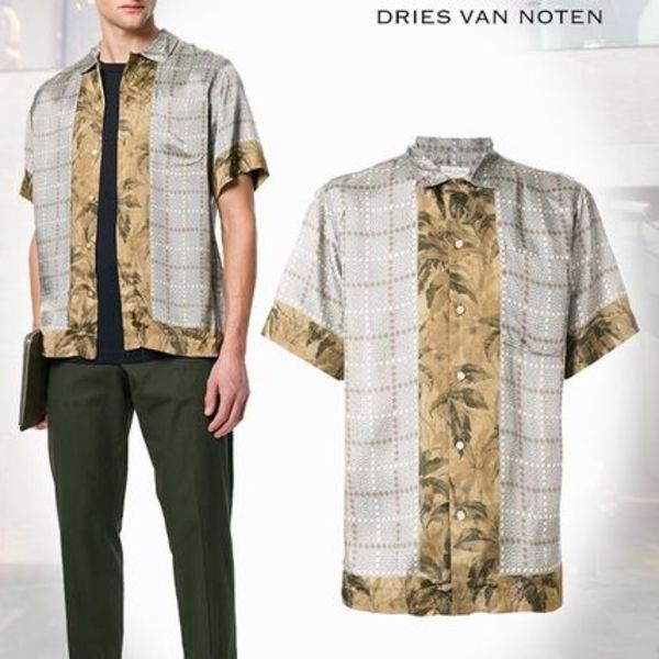 【18SS】Dries Van Noten/patterned 半袖シャツ Grey & brown