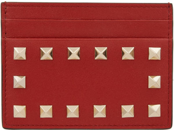 【ヴァレンティノ】Rockstud Leather Card Case Red