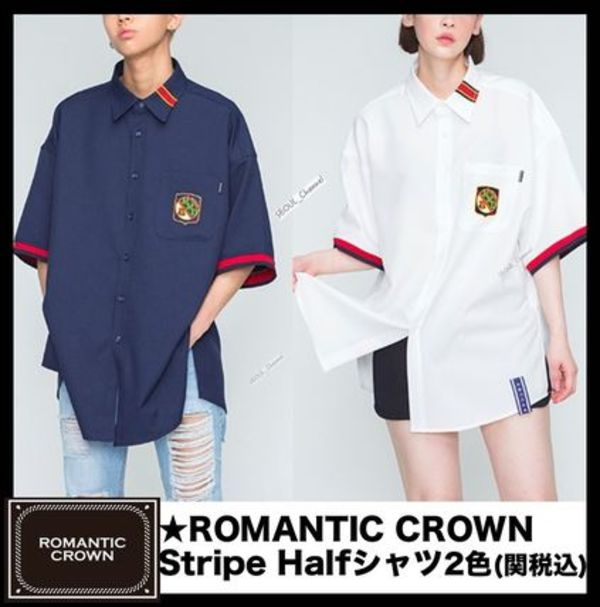 ☆関税込/イベント☆ROMANTIC CROWN★Stripe Half Shirts 全2色