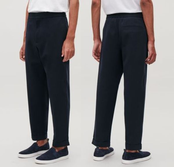 """COS MEN"" TAPERED COTTON TROUSERS NAVY"