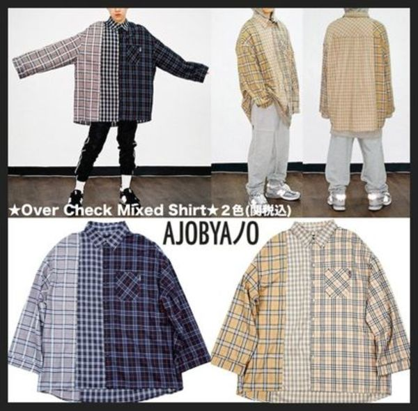 ☆日本未入荷☆AJO AJOBYAJO Over Check Mixed Shirt 全2色