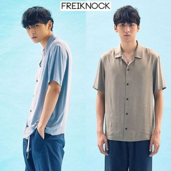 ☆FREIKNOCK☆ BASIC TENCEL OPEN COLLAR SHIRT 2色