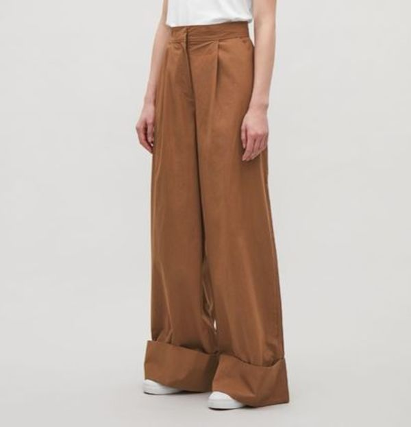 """COS""WIDE-LEG TROUSERS WITH TURN UPS LIGHTBROWN"