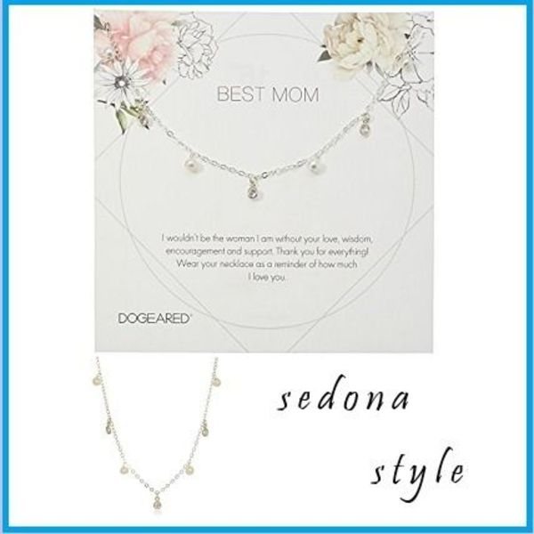 ★Dogeared★Best Mom Dangling Pearl Chain Necklace★シルバー