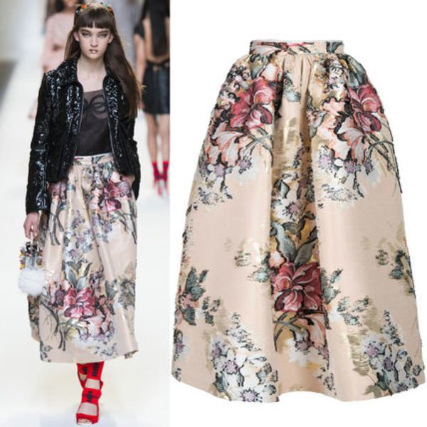 FE1441 LOOK32 MIDI SKIRT IN COTTON FIL COUPE WITH FLOWERS