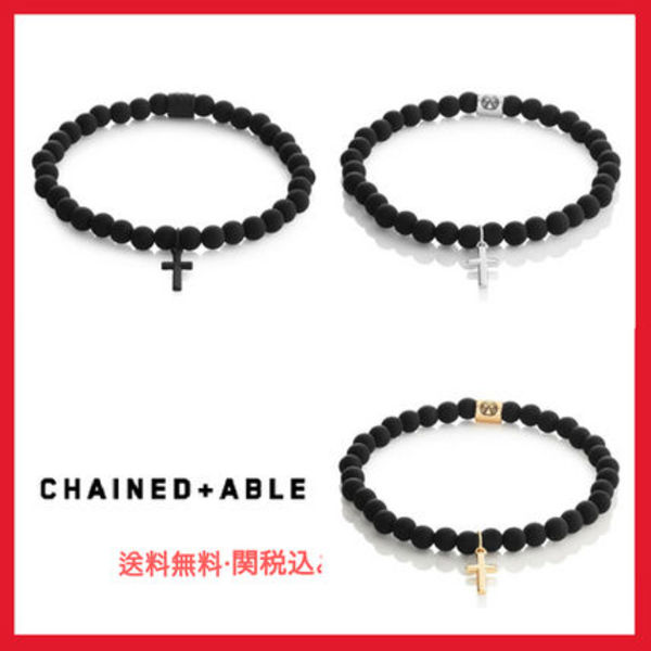 ★Chained & Able ★Cross Slim Beaded Bracelet★ブレスレット