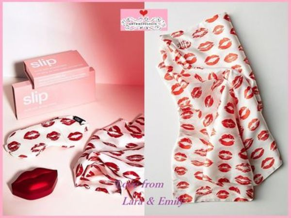 最安値*関送込【Anthro】Slip Red Kisses Pure Silk 枕カバー