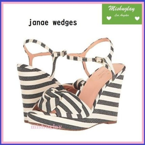【kate spade】爽やかストライプ♪ janae wedges★Black Cream