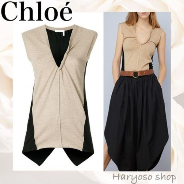 【CHLOEtwo-tone wool knit topノースリーブトップス