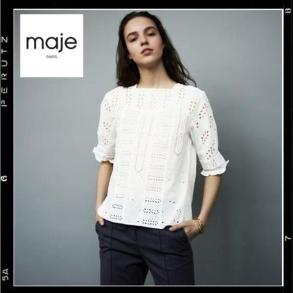 国内検品【maje】Loody embroidered cotton top