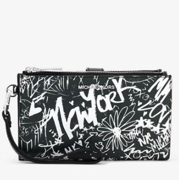 最新作☆MK Adele Graffiti Leather Wristlet☆ウォレットバッグ