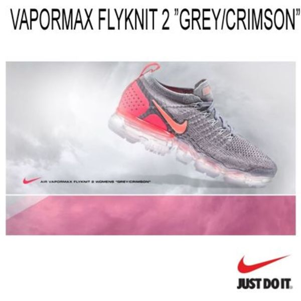 ベイパーマックス!NIKE AIR VAPORMAX FLYKNIT 2 *GREY/CRIMSON*
