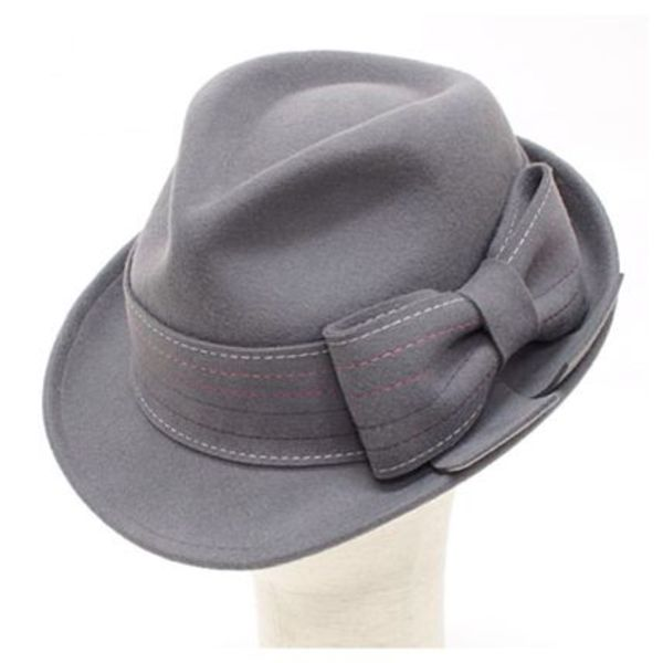 Grey Ribbon Wool Hat Fedora☆Christys'☆