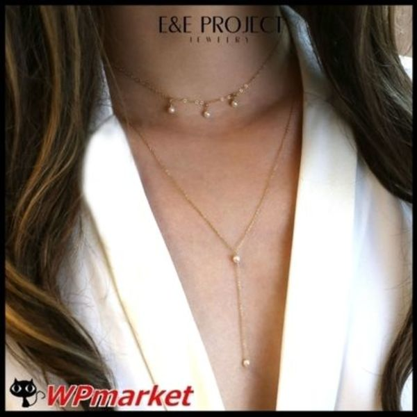 ★E and E PROJECT Pearl Dangle & Lariat ネックレス【関送込】