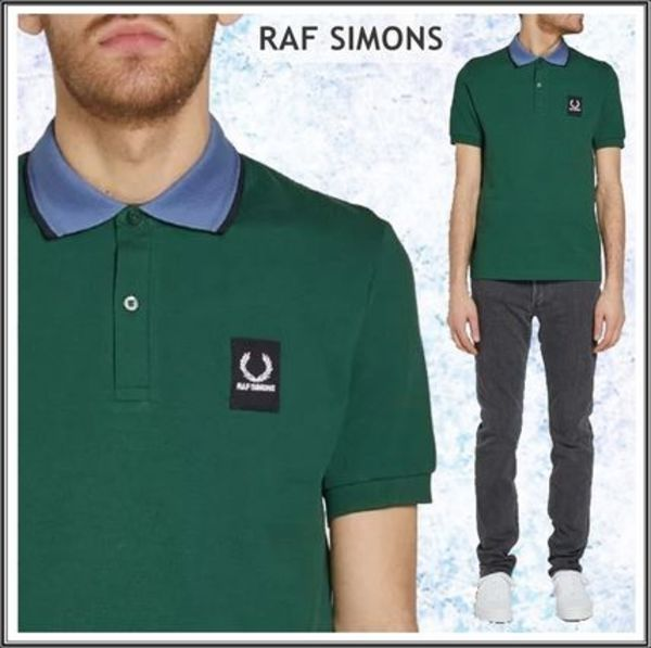Raf Simons★× Fred Perry コントラスト襟 ポロシャツ*グリーン