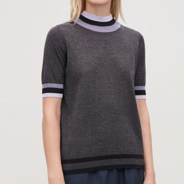 """COS"" RIB-DETAILED KNITTED TOP GRAY"
