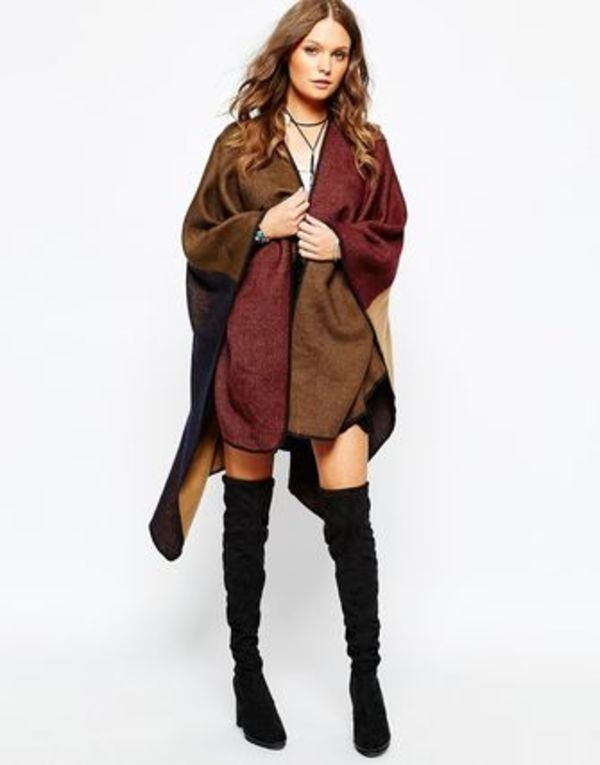 ASOS New Look Colourblock Blanket Stich Wrap