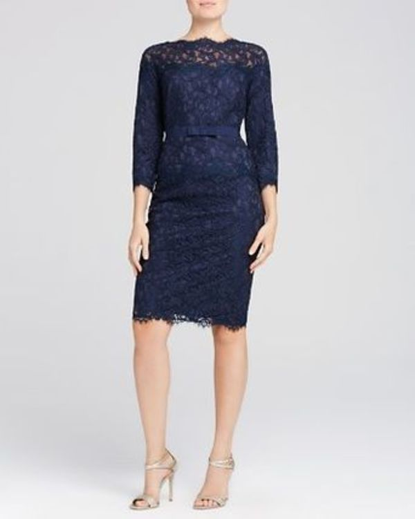 新作!Tadashi Shoji Three-Quarter Sleeve Lace Dress