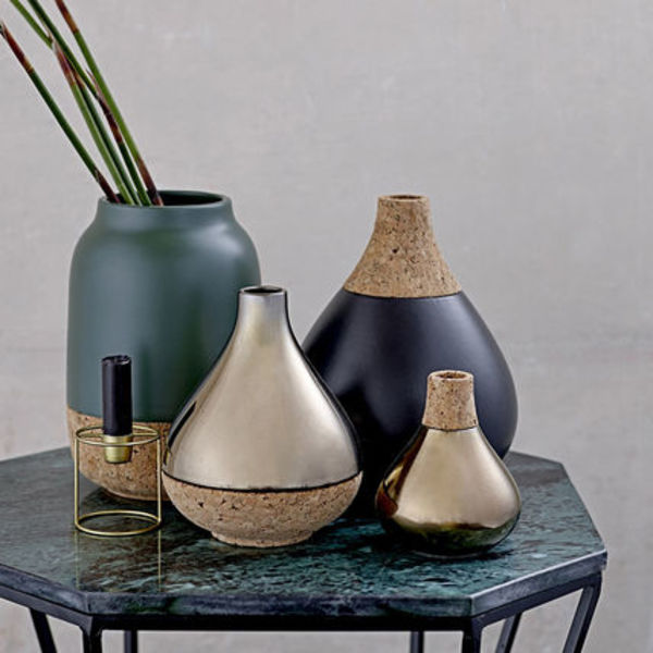 北欧【Bloomingville  】お洒落☆Vase with Cork Top - Black