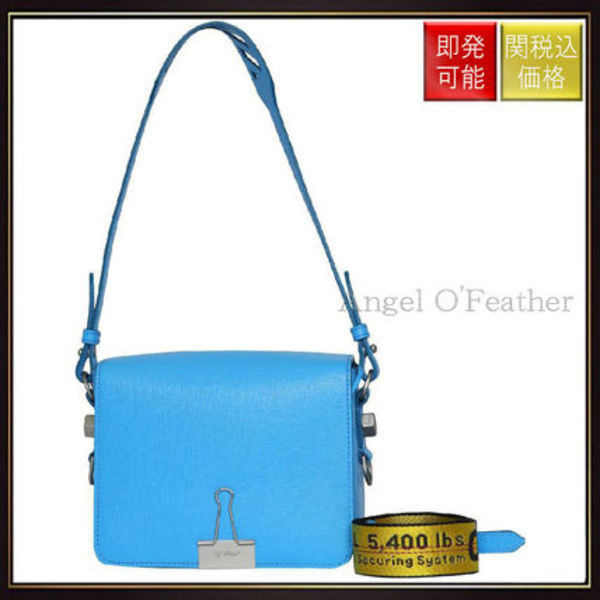 【オフホワイト】Blue Leather Flap Bag Azzurro