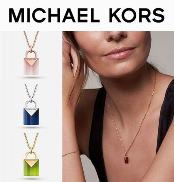 USA限定販売【Michael Kors】Natural Stone Lockネックレス
