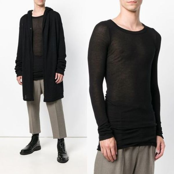 ∞∞RICK OWENS∞∞ draped long sleeve Tシャツ☆ブラック