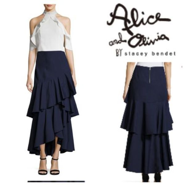 Alice+Olivia SALE! Martina Hi-Lo Ruffled Maxi Skirt スカート