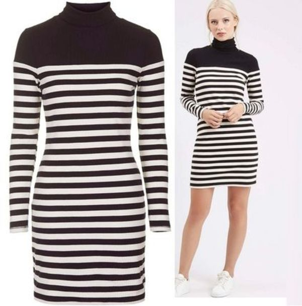 秋冬最新作★Roll Neck Stripe Dress