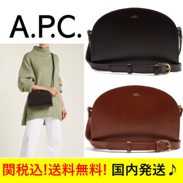 ☆A.P.C.☆Half Moon leather cross-body bag