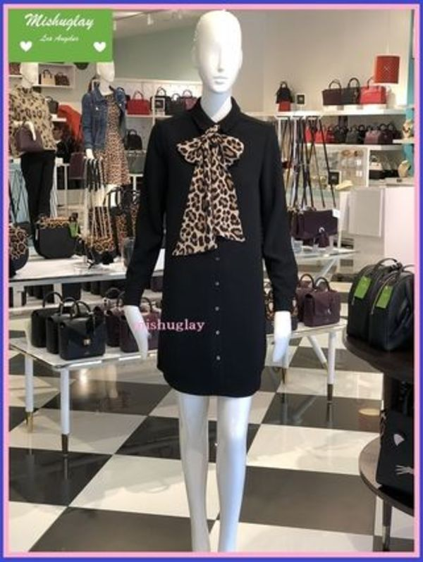 【kate spade】レオパード柄リボン★シャツワンピ griffin dress