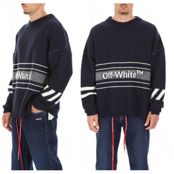 OFF WHITE Wool Knit Logo Pullover