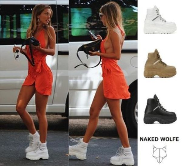 【Naked Wolfe】WICKED LEATHER 厚底スニーカー ハイカット