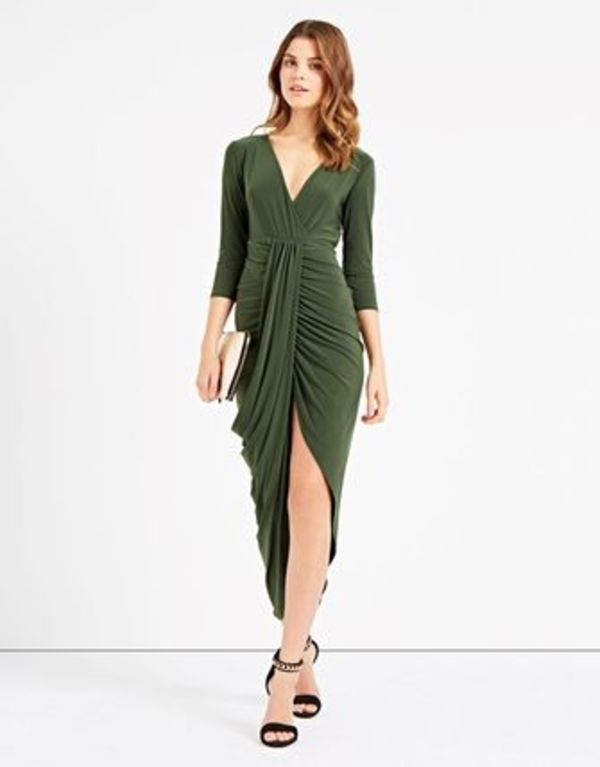 LIPSY ANITA AND GREEN NELLY DRAPE DRESS 関送込国内追跡付