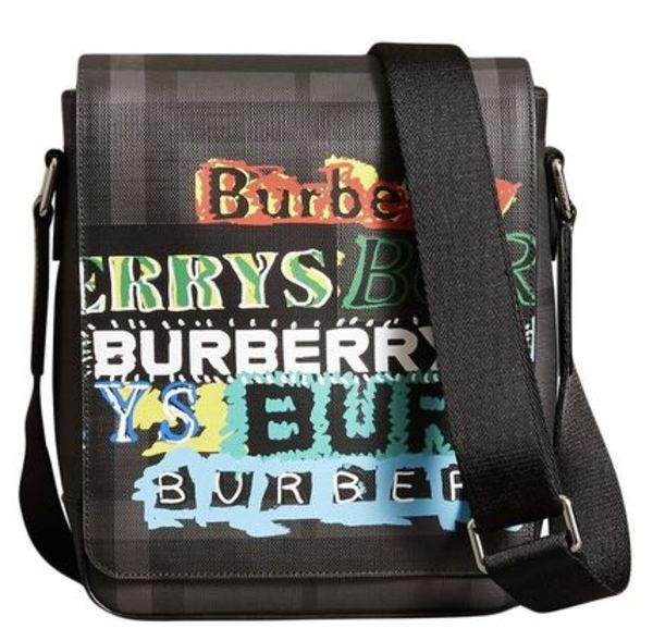 BURBERRY Tag Print London Check Crossbody Bag