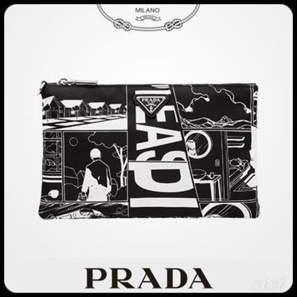PRADAプラダ 2NH004 NYLON AND SAFFIANO LEATHER ポーチ