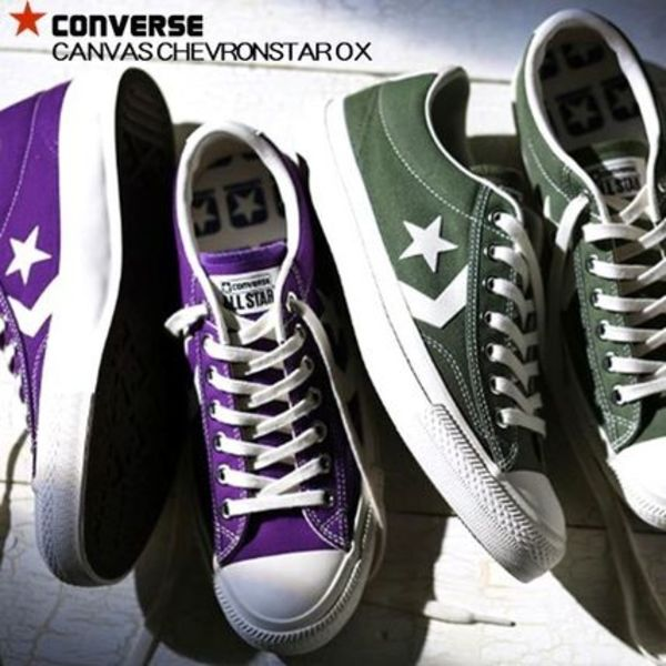 国内正規品★Converse CANVAS CHEVRONSTAR OX★ パープル/緑