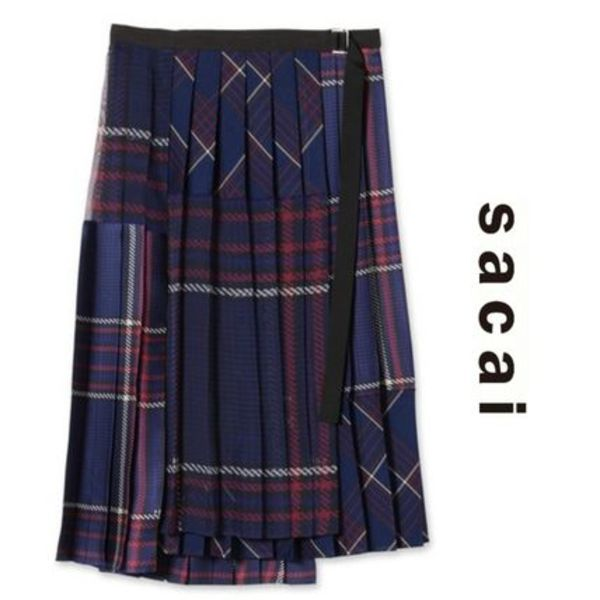 18AW sacai Glencheck Printed Wrap Skirt BLUE/RED 国内発