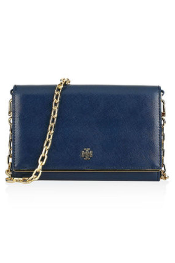 【 Tory Burch 】 Robinson Chain Wallet チェーン付き長財布 紺