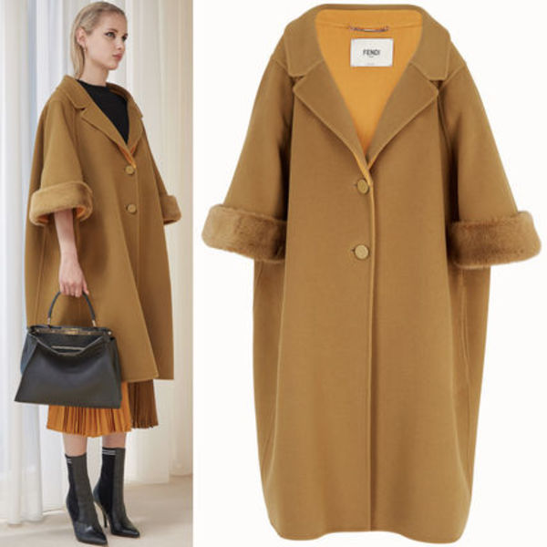 FE2128 OVERSIZED WOOL COAT WITH MINK FUR TRIM