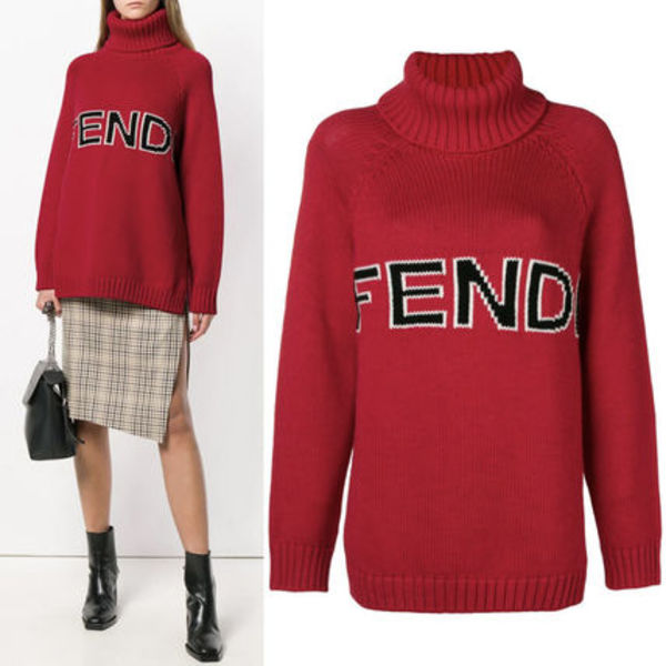 FE2248 LOGO INTARSIA TURTLENECK SWEATER