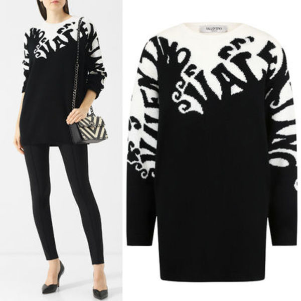 18-19AW V1365 VALENTINO WAVE CASHMERE KNIT SWEATER