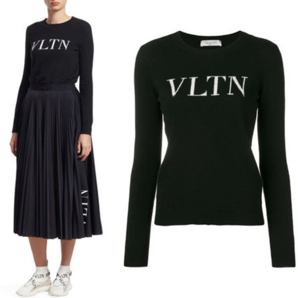 18-19AW V1358 VLTN WOOL CASHMERE KNIT SWEATER